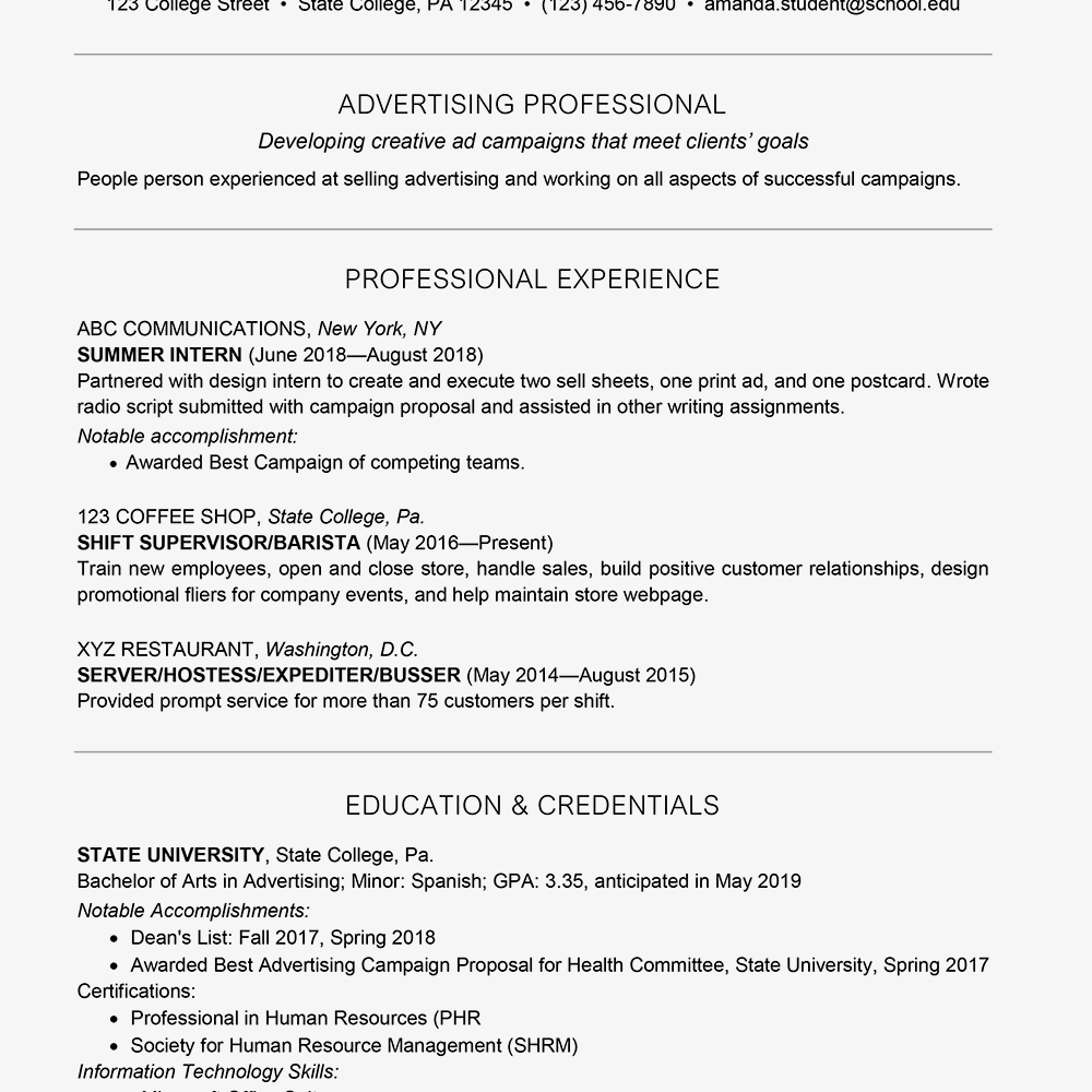 College Student Resume Example