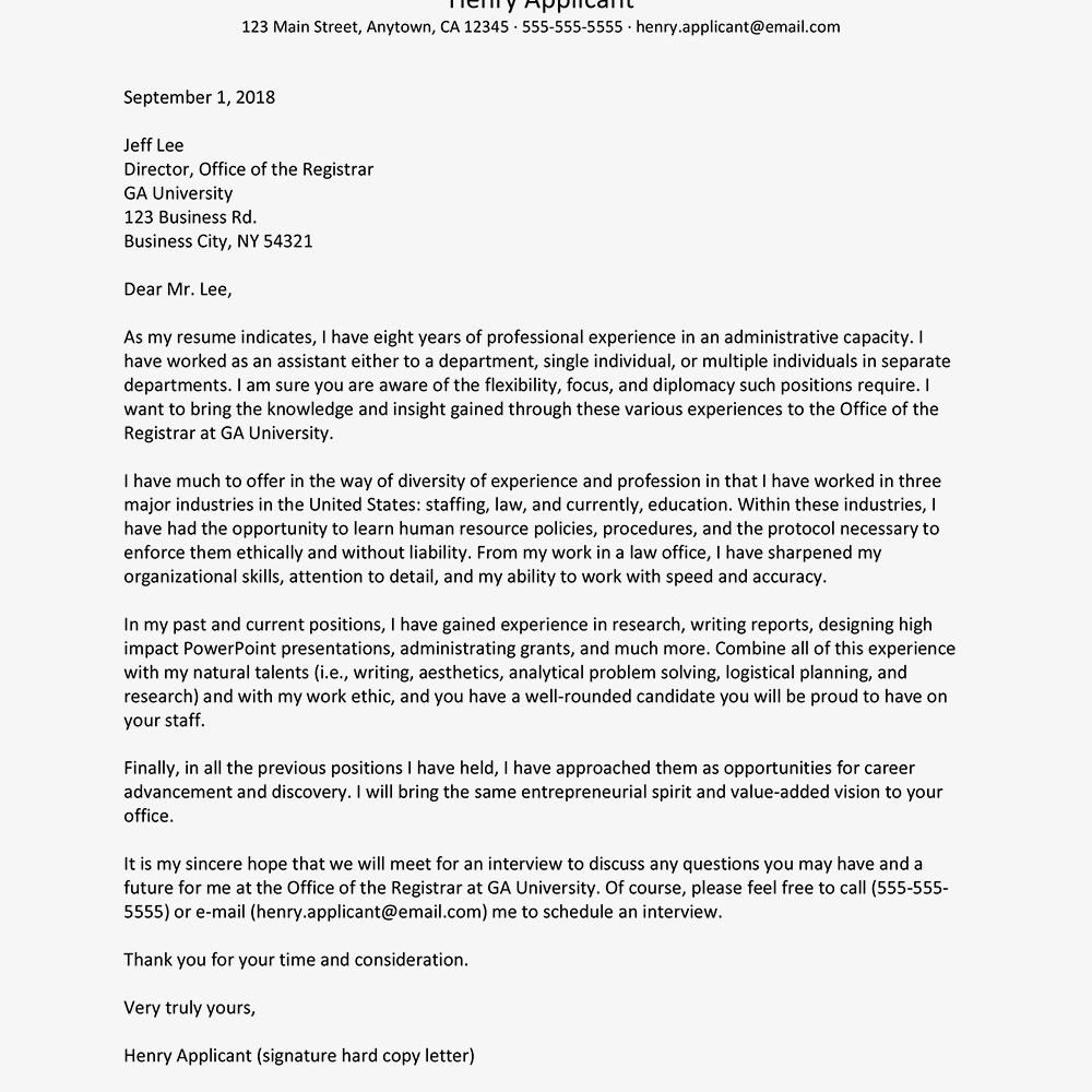 Administrative Position Cover Letter Example And Tips