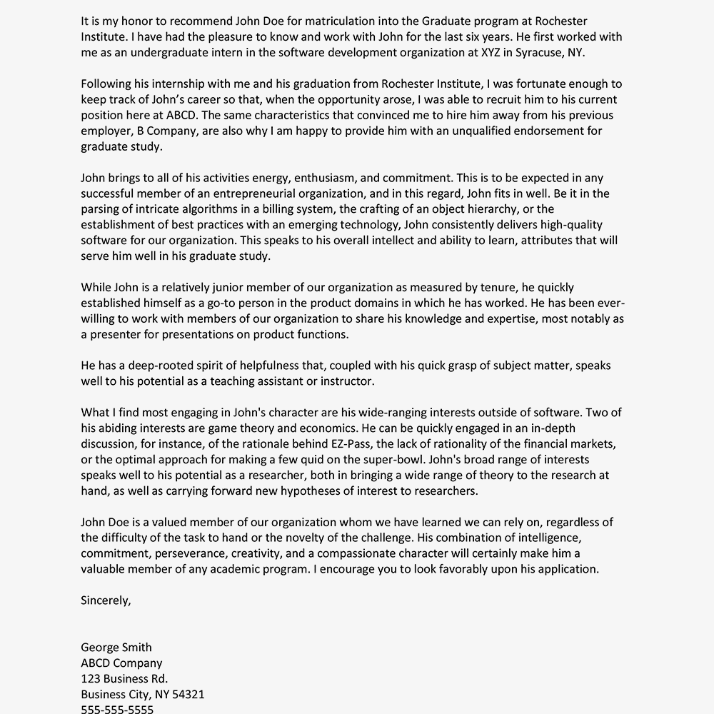 graduate school letter of recommendation from manager