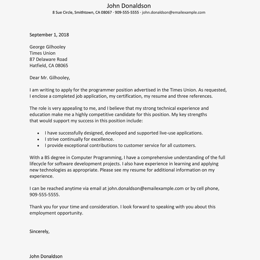 Sample Cover Letter (Text Version)