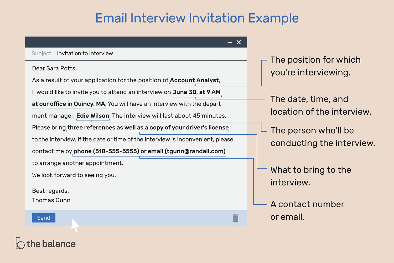 hight resolution of what an email invitation to an interview should include