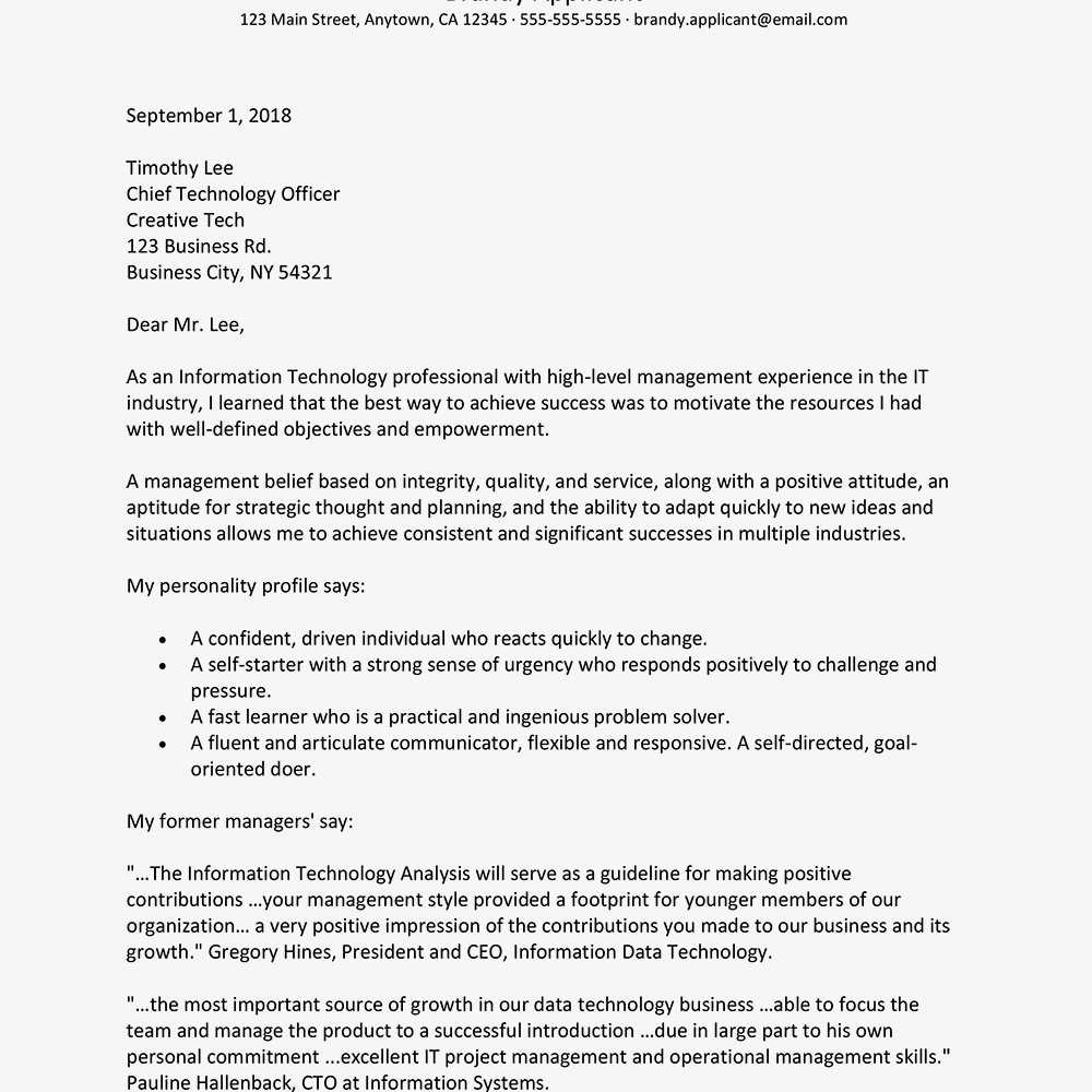 Cover Letter Sample For Unadvertised Jobs