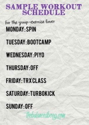 Sample Group Exercise Workout Schedule | The Balanced Berry