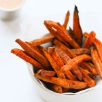 Crispy Baked Sweet Potato Fries with Chili Aioli (Veggie Grill Copycat)