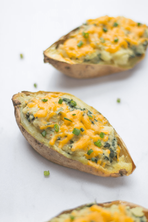Whip up these healthy loaded sweet potato skins for a satisfying game-day snack!