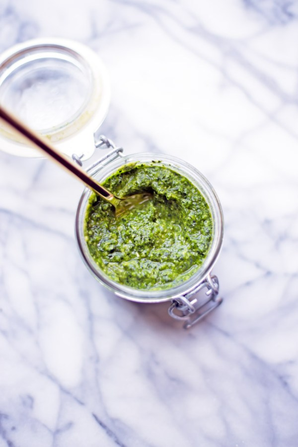 This kale pesto is completely vegan and comes together in just a few minutes in the food processor.