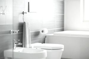 a towel bar and other bath accessories