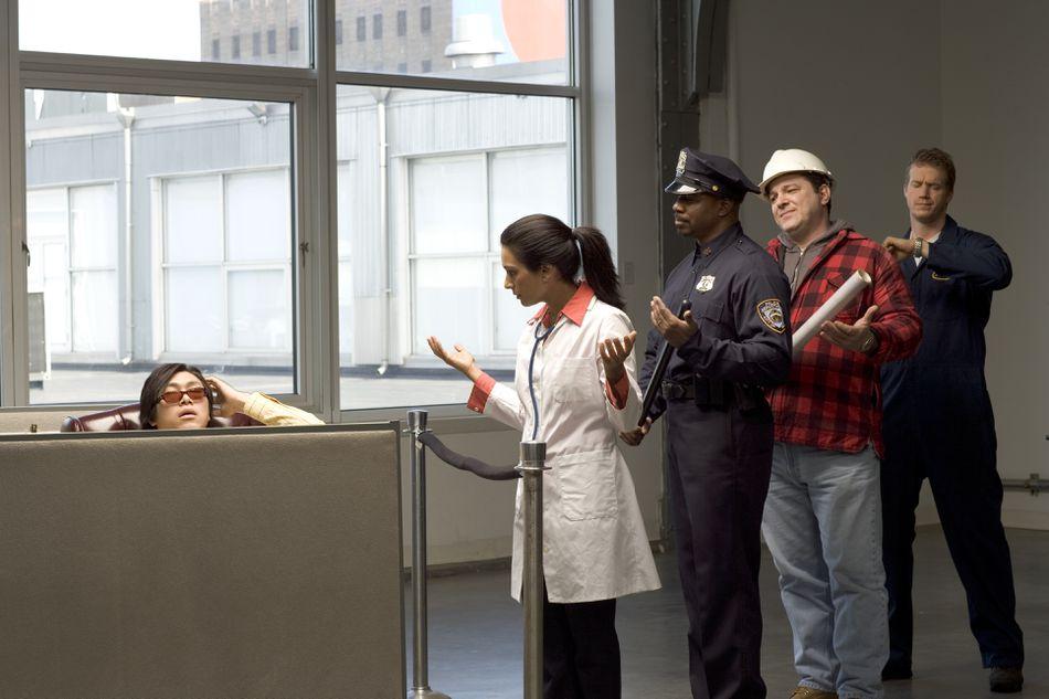 Customer service employee ignoring line