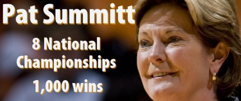Tennessee Lady Vols head coach Pat Summitt during Lady Vols win over South Carolina 68-58 after a slow first half start against the Gamecocks at Thompson-Boling Arena on Sunday.
