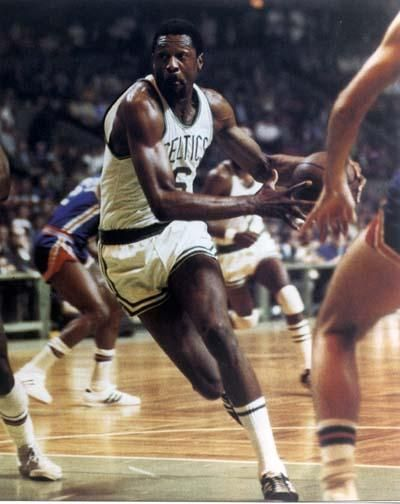 Bill Russell drives to the basket