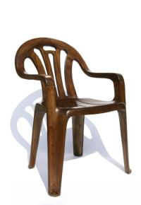 Plastic lawn chair in hand carved elm // The Band From