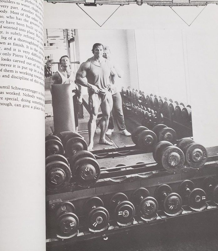 Arnold posing in Gold's Gym
