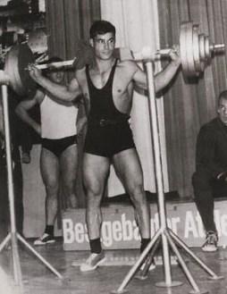 Franco Columbu squatting 385 lbs. 1966