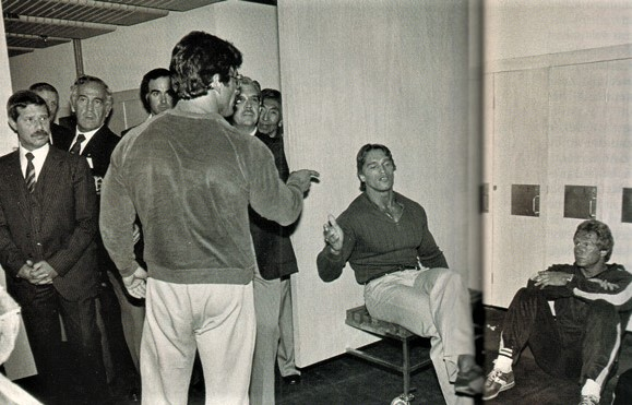 1980 Olympia Mentzer confronts Arnold