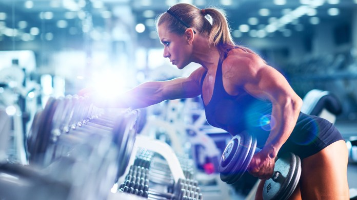 Push-pull one-arm dumbbell row