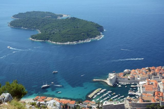 Lokrum Island near Dubrovnik Arial view