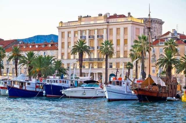 Boats in Split Croatia waterfront view