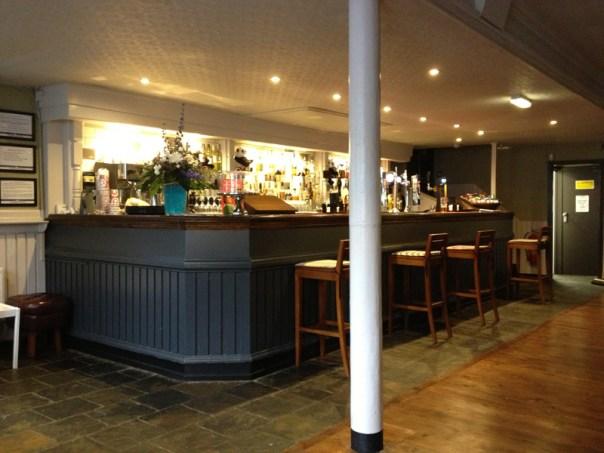 The bar at Pryde's in Edinburgh. Can you spot a panda?