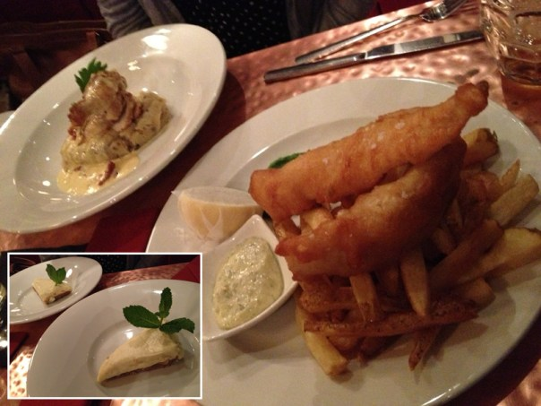 Mrs Bar Fly's chicken, my fish and chips and that amazing cheesecake (inset)