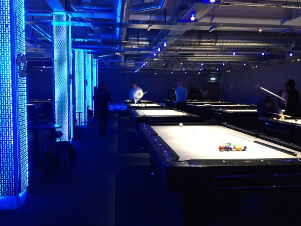 All of Marco's pool tables are now in the LED-lit basement