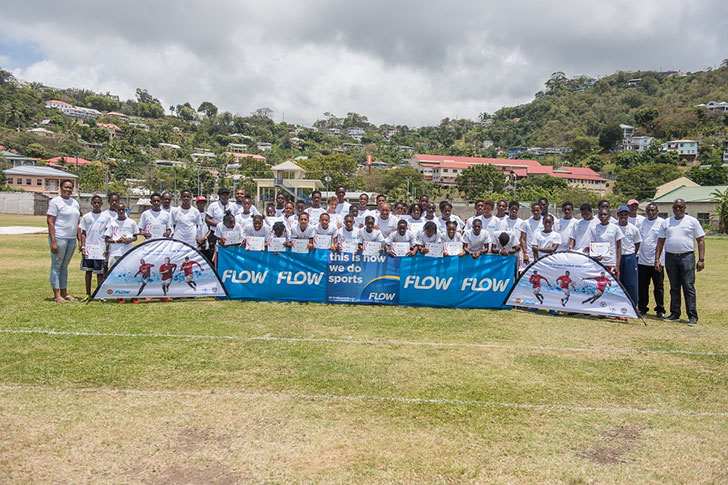 Footballers with Flow Country Manager James Pitt