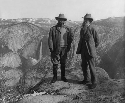 Muir and Roosevelt overlooking Yosemite Valley