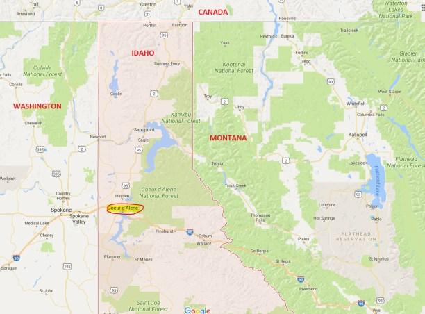 Northern Idaho Lake District Area Map