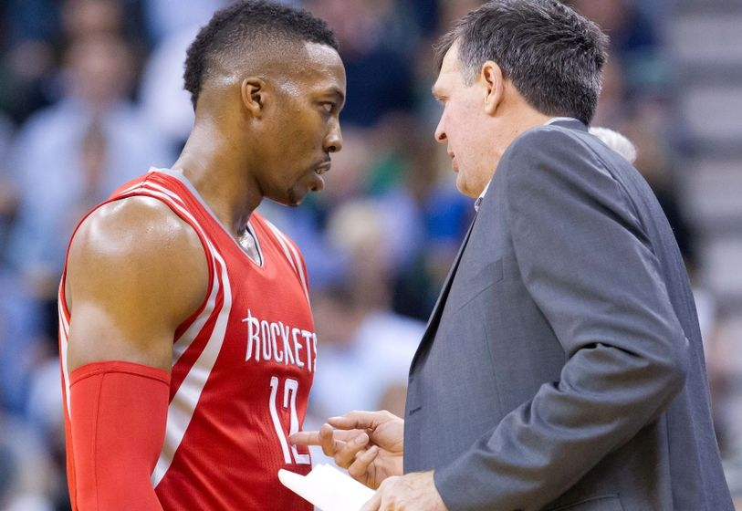 Houston's Dwight Howard (12) & Coach Kevin McHale