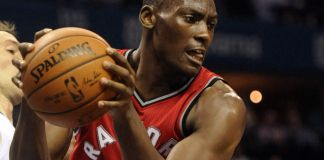 Bismack Biyombo recorded a franchise-record 25 rebounds for the Raptors