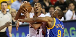 May 7, 2016 - C.J. McCollum (3) drives to the hoop. The Portland Trail Blazers hosted the Golden State Warriors at the Moda Center on May 7, 2016. (Photo by David Blair/Zuma Press/Icon Sportswire)