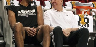 June 18, 2013 - Miami, FL, USA - San Antonio forward Tim Duncan, left, talks with head coach Gregg Popovich during the team's practice, Tuesday, June 18, 2013, at the AmericanAirlines Arena in Miami, Florida, in preparation for Game 6 of the NBA Finals against the Miami Heat, set for this evening. (Zuma Press/Icon Sportswire)