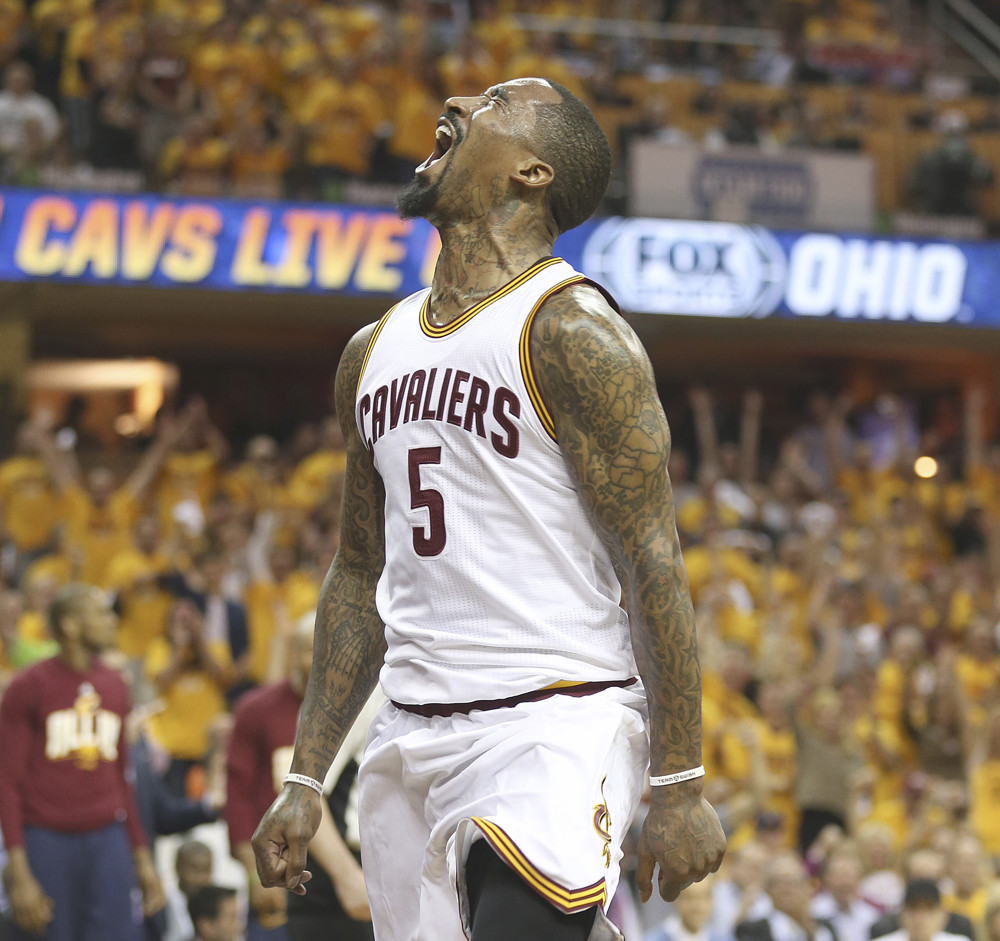 May 25, 2016 - Cleveland, OH, USA - The Cleveland Cavaliers' J.R. Smith celebrates a first-quarter jam against the Toronto Raptors in Game 5 of the Eastern Conference finals on Wednesday, May 25, 2016, at Quicken Loans Arena in Cleveland (Photo by Phil Masturzo/Zuma Press/Icon Sportswire)