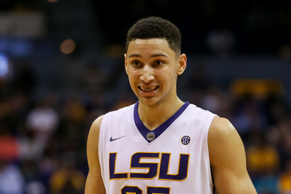 March 01 - LSU Tigers forward Ben Simmons (25) during the NCAA basketball game between the Missouri Tigers and the LSU Tigers at Pete Maravich Assembly Center in Baton Rouge, LA. LSU Tigers defeated Missouri Tigers 80-71. (Stephen Lew/Icon Sportswire)