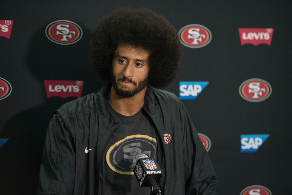 01 September 2016: San Francisco 49ers Quarterback Colin Kaepernick (7) speaks to the media after the NFL preseason game between the San Francisco 49ers and the San Diego Chargers at Qualcomm Stadium in San Diego, CA. (Photo by Brian Rothmuller/Icon Sportswire)