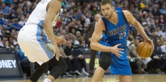 March 6, 2016 - Denver, Colorado, U.S - Mavericks Chandler Parsons (25) readies to make a move to the paint during the second half at the Pepsi Center Sunday afternoon. The Nuggets beat the Mavericks in OT 116-114 (Hector Acevedo/Zuma Press/Icon Sportswire)
