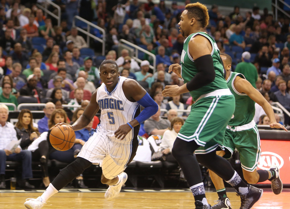 Jan. 31, 2016 - Orlando, FL, USA - Orlando Magic guard Victor Oladipo drives to the basket while being defended by Boston Celtics' Jared Sullinger on Sunday, Jan. 31, 2016, at the Amway Center in Orlando, Fla (Charles King/Zuma Press/Icon Sportswire)