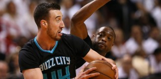 April 27, 2016 - Miami, FL, USA - Charlotte Hornets center Frank Kaminsky III (44) looks to pass against Miami Heat guard Dwyane Wade (3) during the first quarter on Wednesday, April 27, 2016, at AmericanAirlines Arena in Miami (David Santiago/Zuma Press/Icon Sportswire)