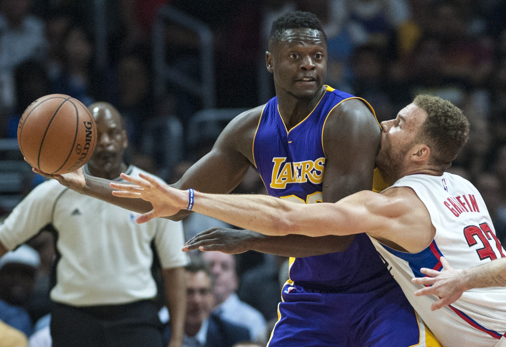April 5, 2016 - Los Angeles, California, U.S. - Los Angeles Clippers forward Blake Griffin guards Los Angeles Lakers forward Julius Randle during the first half at STAPLES Center in Los Angeles (Ed Crisostomo/Zuma Press/Icon Sportswire)