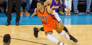 OKLAHOMA CITY, OK - OCTOBER 30: Oklahoma City Thunder Guard Russell Westbrook (0) takes the open lane on Los Angeles Lakers Guard D'Angelo Russell (1) at Chesapeake Energy Arena. (Torrey Purvey/Icon Sportswire)