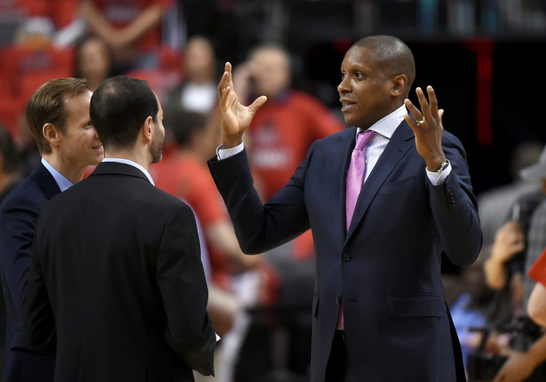 May 23, 2016; Toronto, Ontario, CAN; Toronto Raptors general manager Masai Ujiri (right) gestures as he speaks with media during pre-game shoot around before the Raptors host Cleveland Cavaliers in game four of the Eastern conference finals of the NBA Playoffs at Air Canada Centre. Mandatory Credit: Dan Hamilton-USA TODAY Sports
