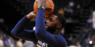 Nov 2, 2016; Memphis, TN, USA; New Orleans Pelicans guard Lance Stephenson (5) warms up before the game against the Memphis Grizzlies at FedExForum. Mandatory Credit: Justin Ford-USA TODAY Sports