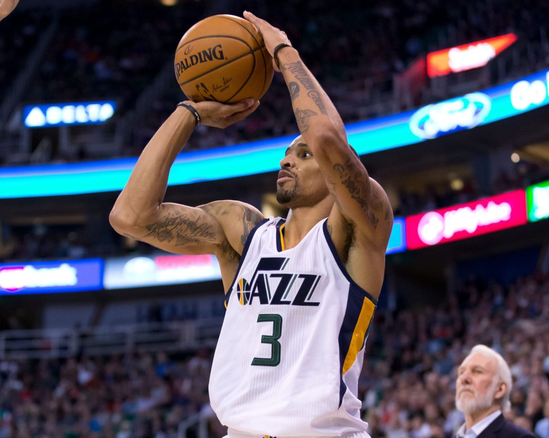 Nov 4, 2016; Salt Lake City, UT, USA; Utah Jazz guard George Hill (3) shoots the ball during the first half against the San Antonio Spurs at Vivint Smart Home Arena. Mandatory Credit: Russ Isabella-USA TODAY Sports