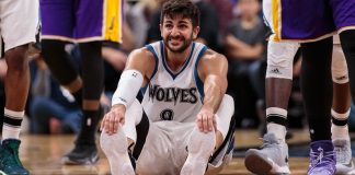 Nov 13, 2016; Minneapolis, MN, USA; Minnesota Timberwolves guard Ricky Rubio (9) in the third quarter against the Los Angeles Lakers at Target Center. The Minnesota Timberwolves beat the Los Angeles Lakers 125-99. Mandatory Credit: Brad Rempel-USA TODAY Sports