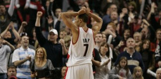 Dec 9, 2007; Portland, OR, USA; Portland Trail Blazers' Brandon Roy stands near cheering fans in the closing seconds of their 117-113 overtime victory against the Milwaukee Bucks at the Rose Garden. Mandatory Credit: Richard Clement-Icon Sportswire