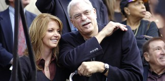 Oct. 30, 2006; Hollywood, CA, USA; Los Angeles Lakers Vice President Jeanie Buss and Lakers Head Coach Phil Jackson during the Hollywood Walk of Fame Star induction ceremony for Jerry Buss. Mandatory Credit: Darryl Dennis-Icon Sportswire