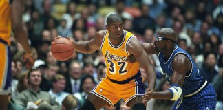 Los Angeles, CA, USA; Orlando Magic forward Horace Grant defends Los Angeles Lakers guard Magic Johnson in a game at the Forum in Los Angeles, CA. Mandatory Credit-Matt A. Brown/Icon Sportswire