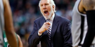 Nov 25, 2016; Boston, MA, USA; San Antonio Spurs head coach Gregg Popovich yells at his players during the first half against the Boston Celtics at TD Garden. Mandatory Credit: Winslow Townson-USA TODAY Sports