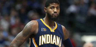 Dec 9, 2016; Dallas, TX, USA; Indiana Pacers forward Paul George (13) during the game against the Dallas Mavericks at American Airlines Center. The Mavs beat the Pacers 111-103. Mandatory Credit: Matthew Emmons-USA TODAY Sports