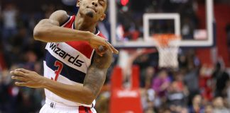 Dec 18, 2016; Washington, DC, USA; Washington Wizards guard Bradley Beal (3) celebrates after making a three point field goal against the LA Clippers in the fourth quarter at Verizon Center. The Wizards won 117-110. Mandatory Credit: Geoff Burke-USA TODAY Sports