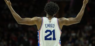 Jan 18, 2017; Philadelphia, PA, USA; Philadelphia 76ers center Joel Embiid (21) reacts as fans chant his name after a score against the Toronto Raptors during the second quarter at Wells Fargo Center. Mandatory Credit: Bill Streicher-USA TODAY Sports